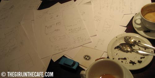 Storyboarding, tea, coffee and a cake