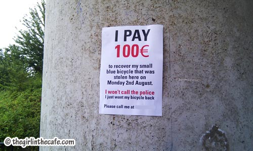 Stolen bicycle poster Amsterdam